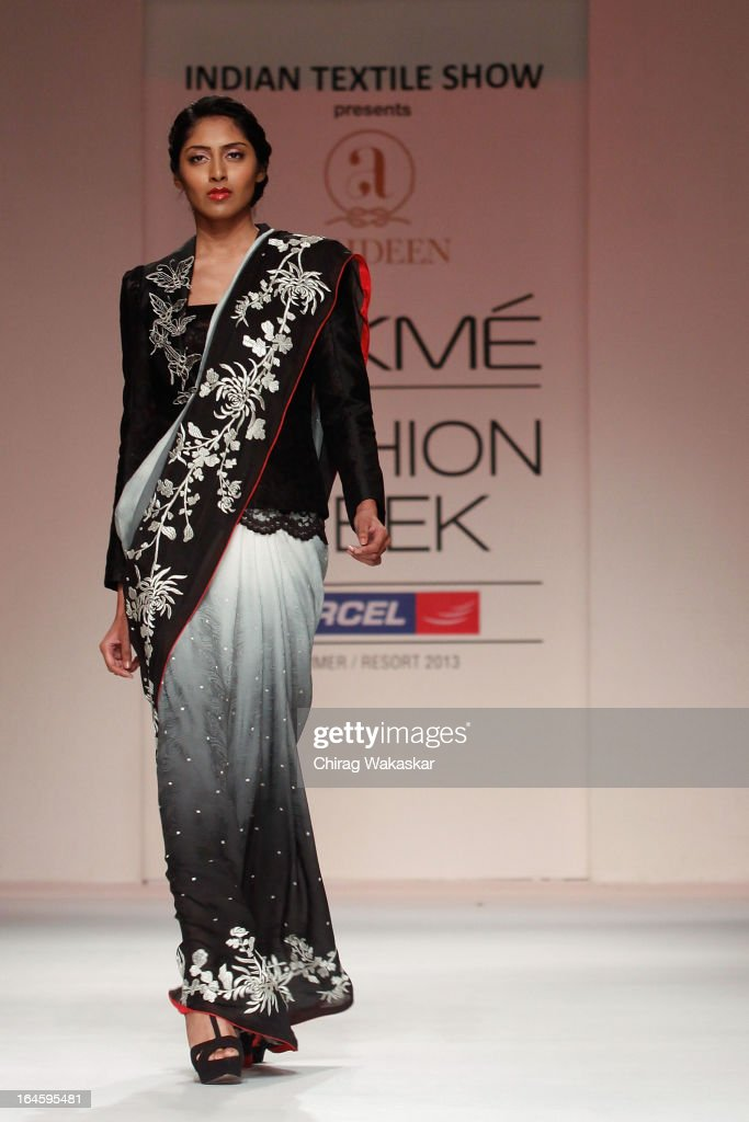 A model showcases designs by Ashdeen Lilaowala on the runway during day four of Lakme Fashion Week Summer/Resort 2013 on March 25, 2013 at Grand Hyatt in Mumbai, India.