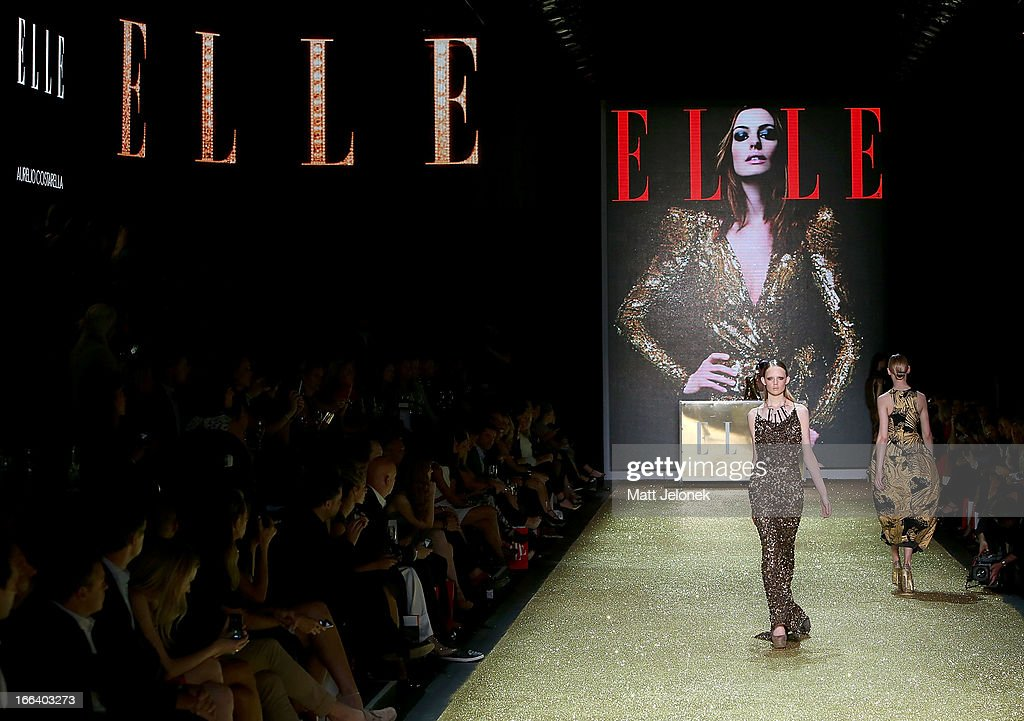 A model showcases designs by Aurelio Costarella on the runway at the Hello Elle Australia show during Mercedes-Benz Fashion Week Australia Spring/Summer 2013/14 at Carriageworks on April 12, 2013 in Sydney, Australia.
