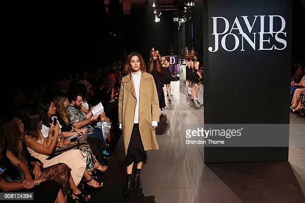 A model showcases designs by Bassike on the runway at the David Jones Autumn/Winter 2016 Fashion Launch at David Jones Elizabeth Street Store on...
