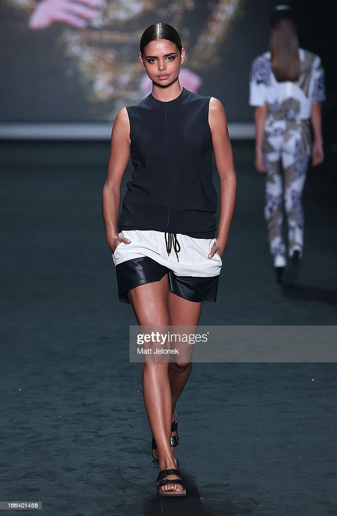 A model showcases designs by Bassike on the runway at the Hello Elle Australia show during Mercedes-Benz Fashion Week Australia Spring/Summer 2013/14 at Carriageworks on April 12, 2013 in Sydney, Australia.