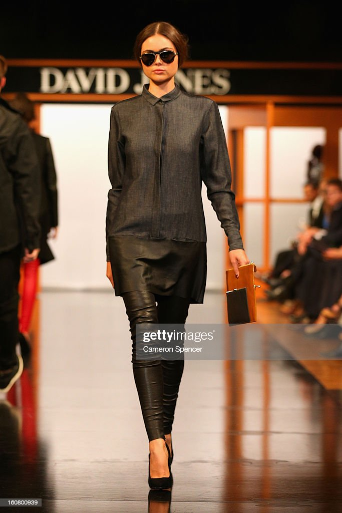 A model showcases designs by Bassike on the runway during the David Jones A/W 2013 Season Launch at David Jones Castlereagh Street on February 6, 2013 in Sydney, Australia.