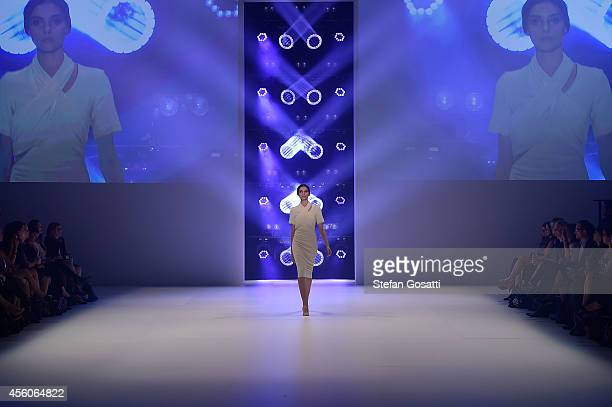 A model showcases designs by Bec Bridge during Fashion Bloggers on Style Spring Edits show at MercedesBenz Fashion Festival Sydney at Sydney Town...
