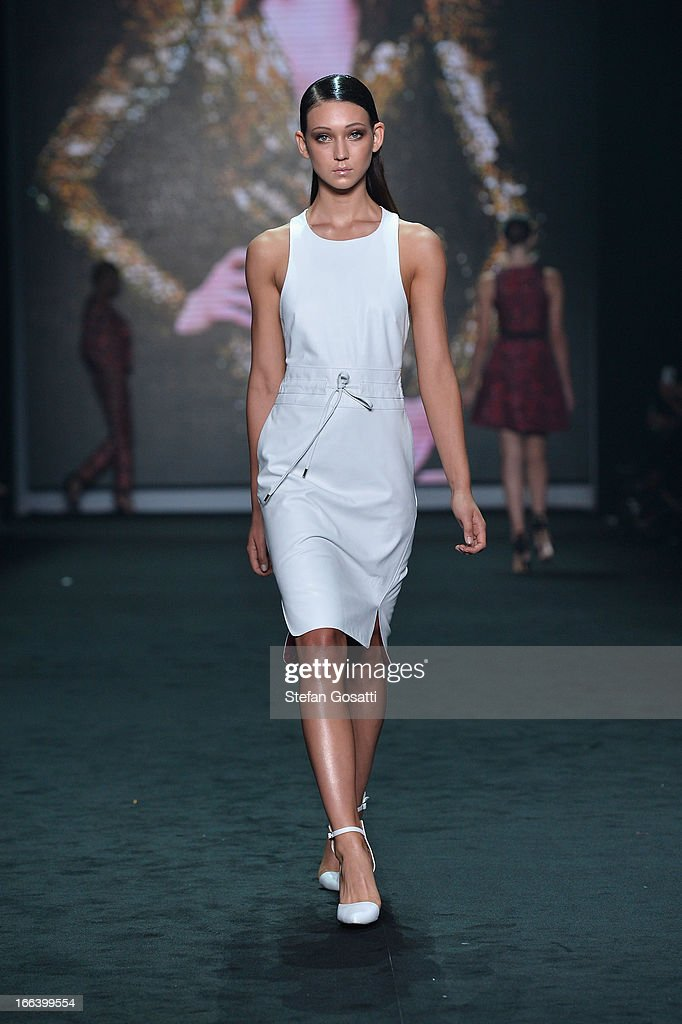 A model showcases designs by Bec & Bridge on the runway at the Hello Elle Australia show during Mercedes-Benz Fashion Week Australia Spring/Summer 2013/14 at Carriageworks on April 12, 2013 in Sydney, Australia.