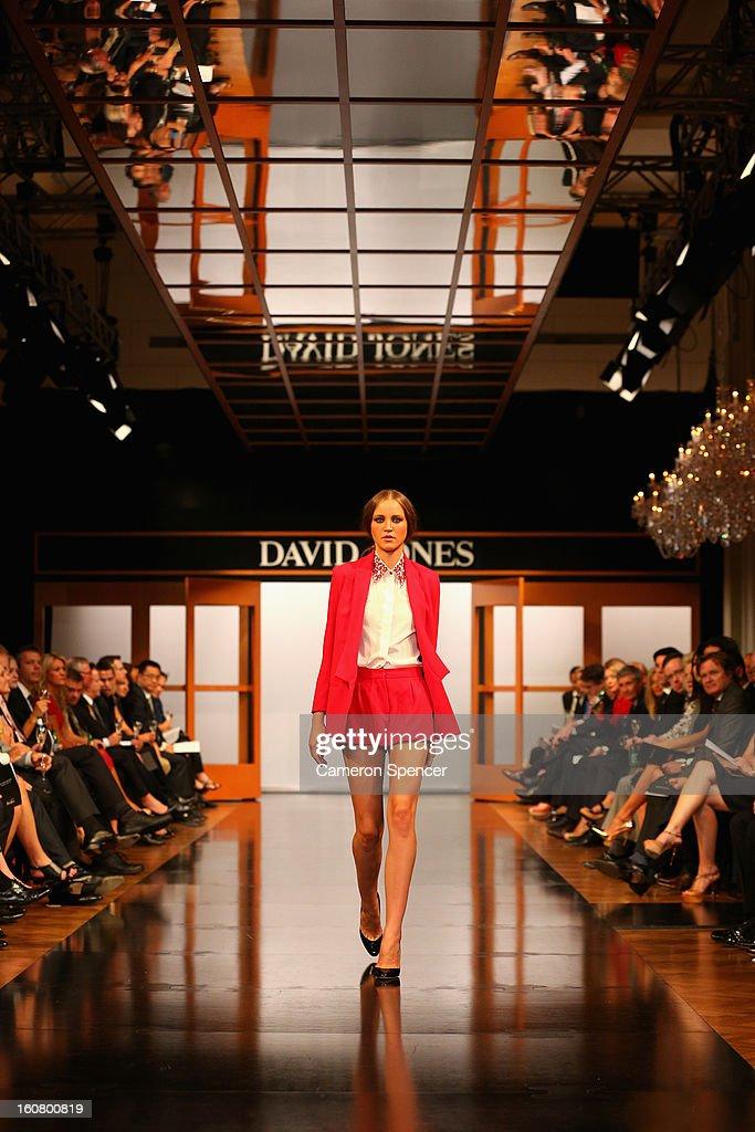 A model showcases designs by Bec & Bridge on the runway during the David Jones A/W 2013 Season Launch at David Jones Castlereagh Street on February 6, 2013 in Sydney, Australia.