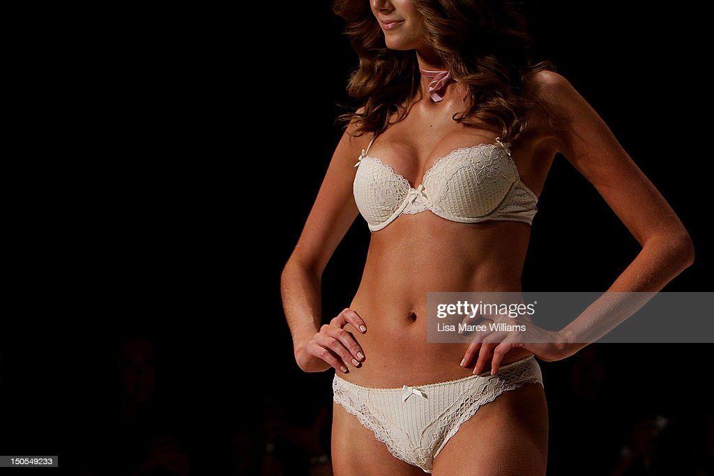 A model showcases designs by Bendon presents Elle Macpherson Intimates on the catwalk as part of the Mercedes Benz Fashion Festival Sydney 2012 at...