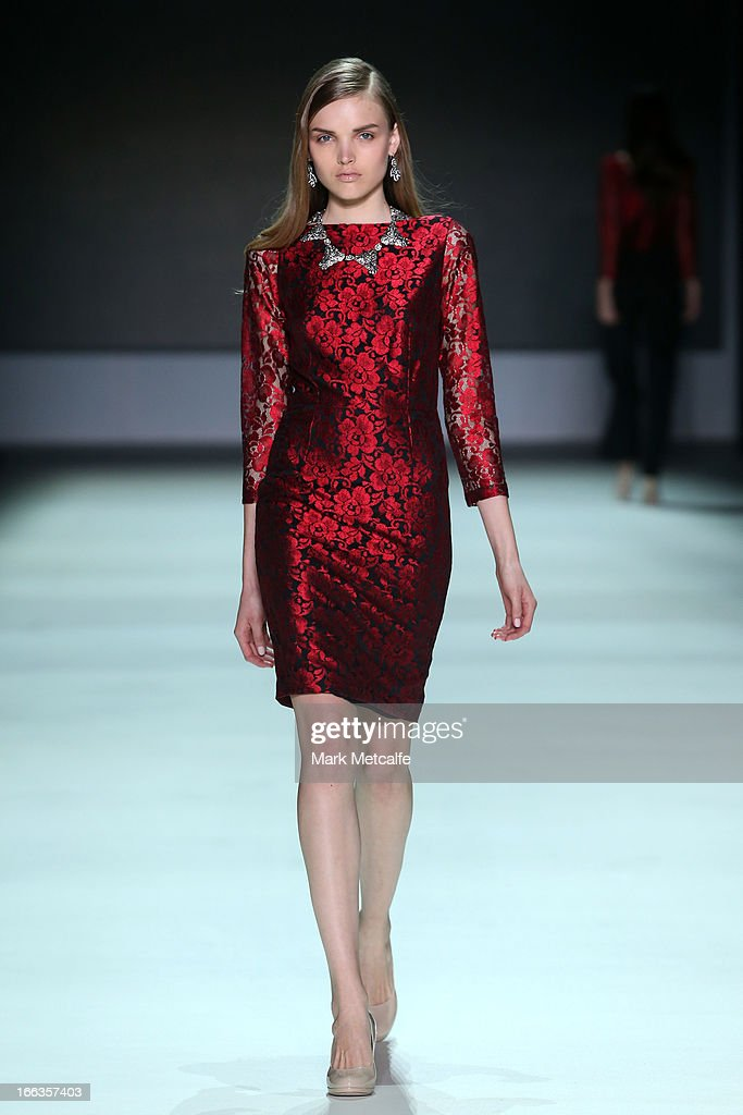 A model showcases designs by Betty Tran on the runway at the New Generation show during Mercedes-Benz Fashion Week Australia Spring/Summer 2013/14 at Carriageworks on April 12, 2013 in Sydney, Australia.