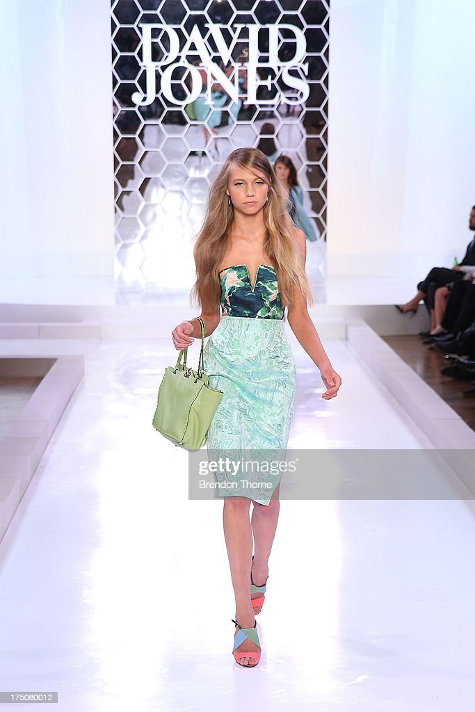 A model showcases designs by Bianca Spender at the David Jones Spring/Summer 2013 Collection Launch at David Jones Elizabeth Street on July 31, 2013 in Sydney, Australia.