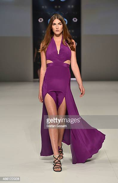 A model showcases designs by Bianca Spender at the Lavazza presents from Italy with Passion show during MercedesBenz Fashion Festival Sydney at...