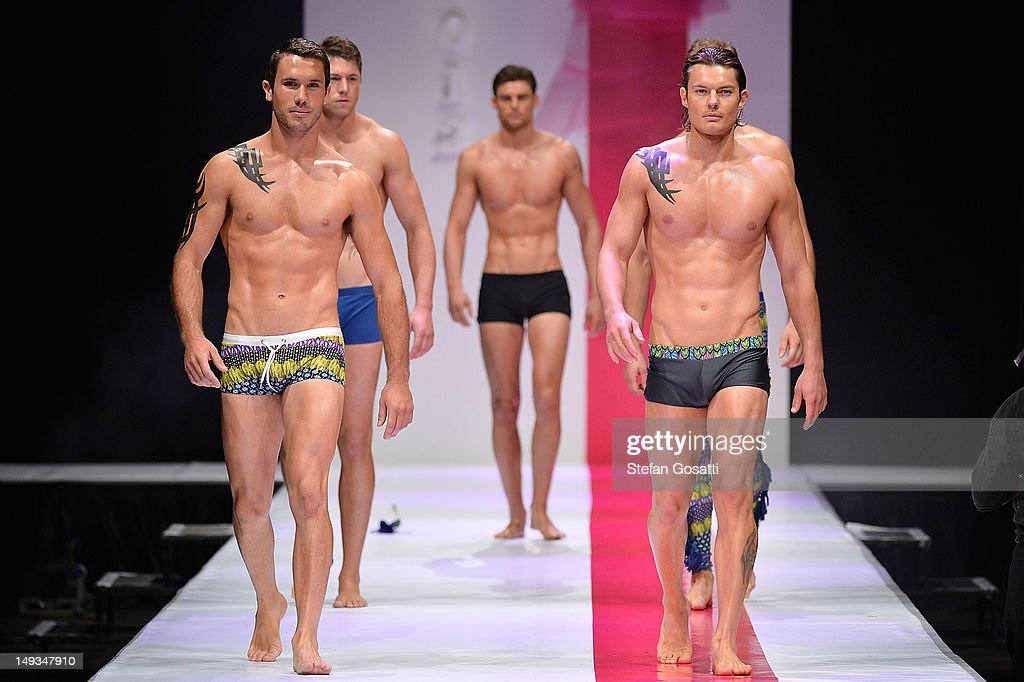 A model showcases designs by Bikini Atoll on the catwalk during StyleAID 2012 at the Burswood Entertainment Complex on July 27, 2012 in Perth, Australia.