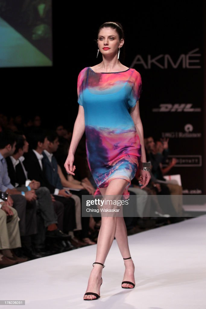 A model showcases designs by Bisou Bisou during day 5 of Lakme Fashion Week Winter/Festive 2013 at the Hotel Grand Hyatt on August 27, 2013 in Mumbai, India.