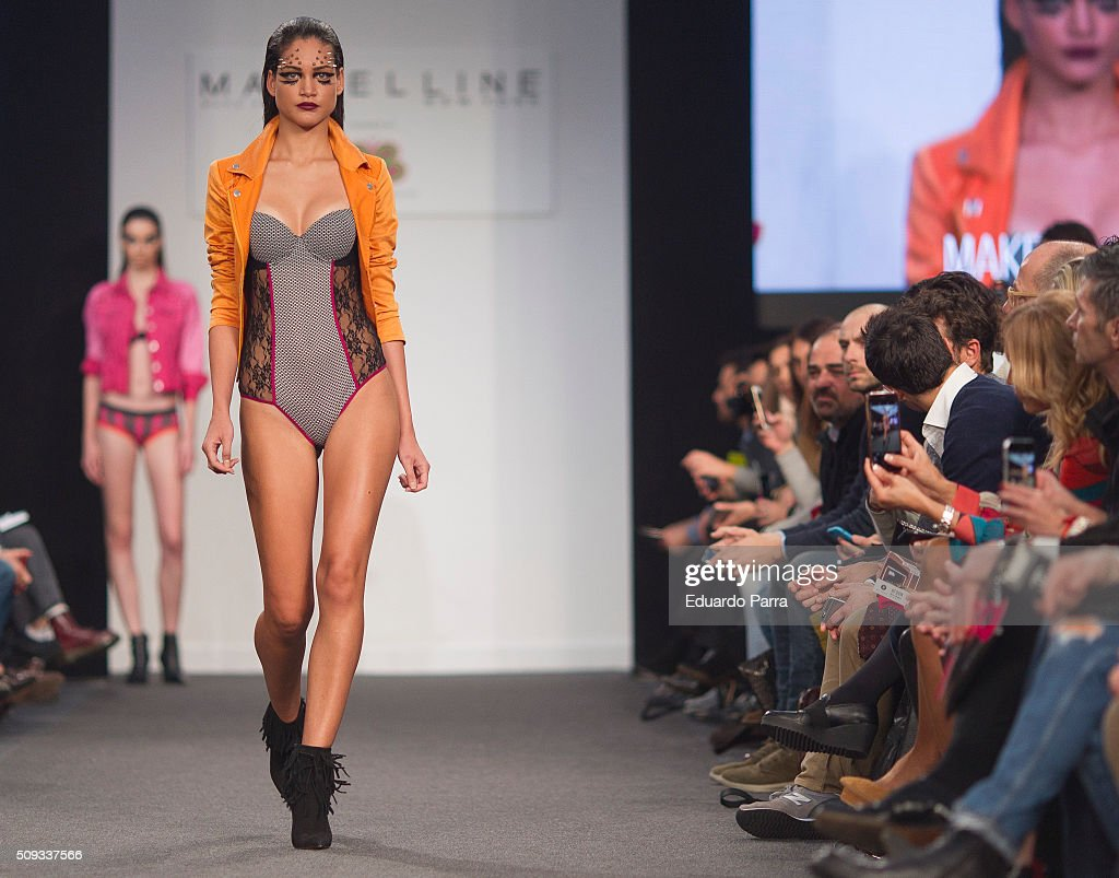 A model showcases designs by BLOOMERS&BIKINI at the MFSHOW on February 10, 2016 in Madrid, Spain.
