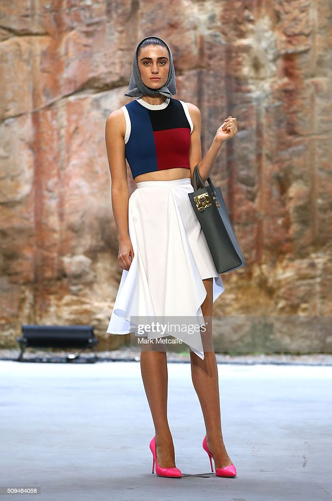 A model showcases designs by By Johnny during rehearsal ahead of the Myer AW16 Fashion Launch on February 11, 2016 in Sydney, Australia.