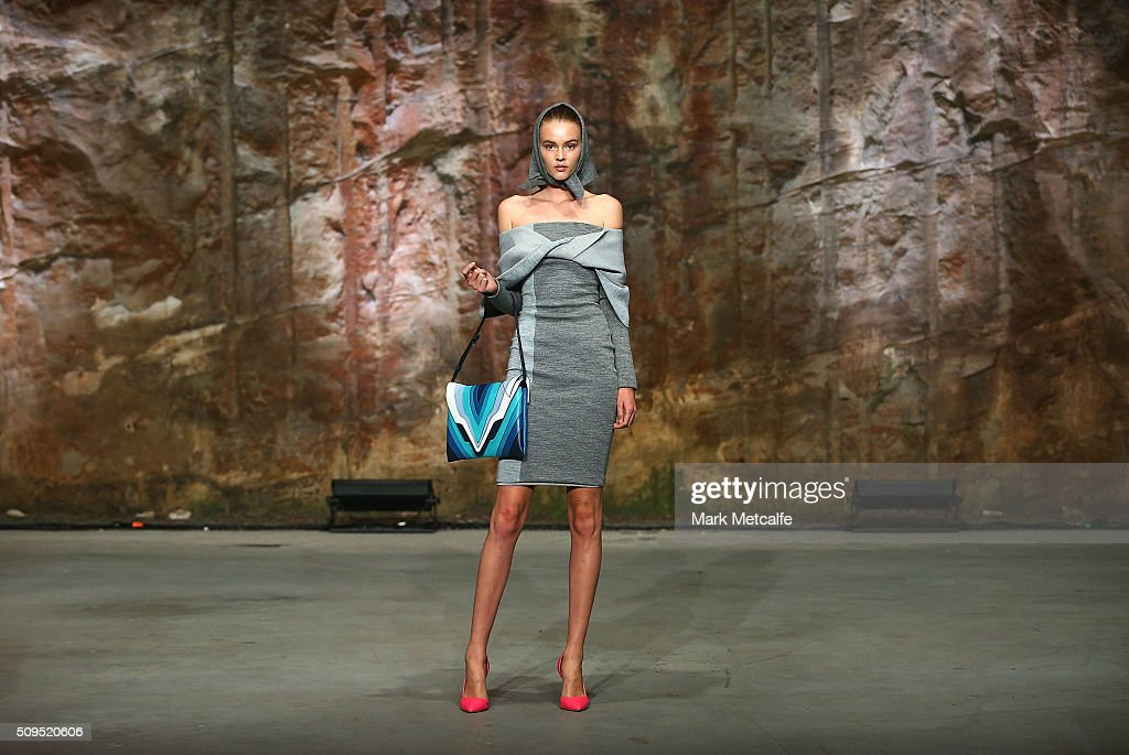 A model showcases designs by By Johnny on the runway at the Myer AW16 Fashion Launch on February 11, 2016 in Sydney, Australia.