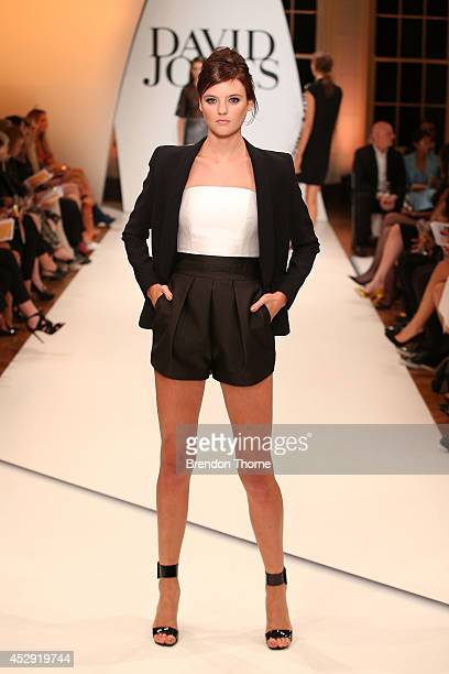 A model showcases designs by Camilla and Marc at the David Jones Spring/Summer 2014 Collection Launch at David Jones Elizabeth Street Store on July...