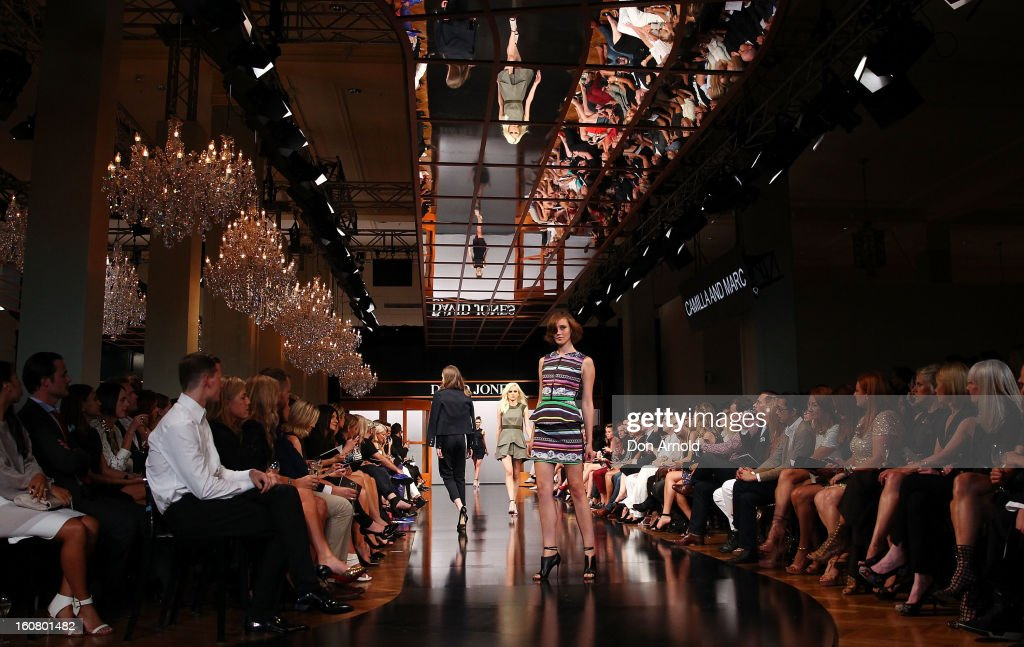 A model showcases designs by Camilla and Marc on the catwalk during the A/W 2013 Season Launch at David Jones Castlereagh Street on February 6, 2013 in Sydney, Australia.