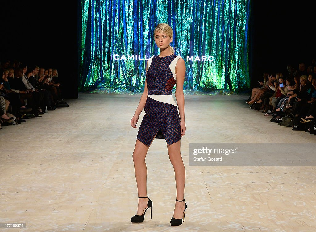 A model showcases designs by Camilla and Marc on the runway at the MBFWA Trends show during Mercedes-Benz Fashion Festival Sydney 2013 at Sydney Town Hall on August 22, 2013 in Sydney, Australia.