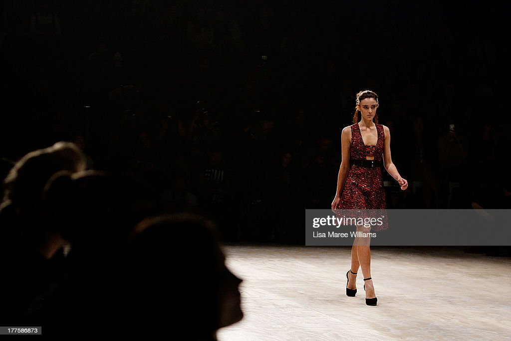 A model showcases designs by Camilla and Marc on the runway at the MBFWA Trends show during Mercedes-Benz Fashion Festival Sydney 2013 at Sydney Town Hall on August 24, 2013 in Sydney, Australia.