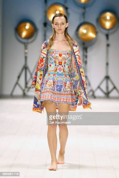A model showcases designs by Camilla during MercedesBenz Fashion Week Weekend Edition at Carriageworks on May 20 2017 in Sydney Australia