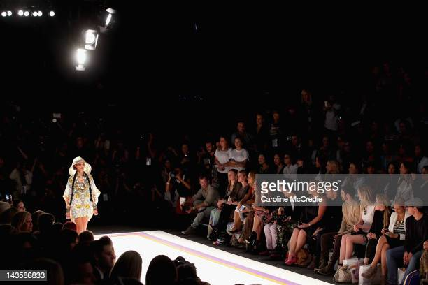 A model showcases designs by Camilla on the catwalk on day one of MercedesBenz Fashion Week Australia Spring/Summer 2012/13 at the Overseas Passenger...