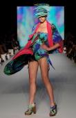 A model showcases designs by Camilla on the catwalk on the first day of Rosemount Australian Fashion Week Spring/Summer 2010/11 at the Overseas...