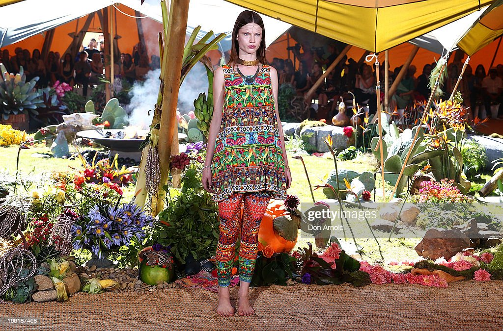 A model showcases designs by Camilla on the runway at the Camilla show during Mercedes-Benz Fashion Week Australia Spring/Summer 2013/14 at Centennial Park on April 10, 2013 in Sydney, Australia.
