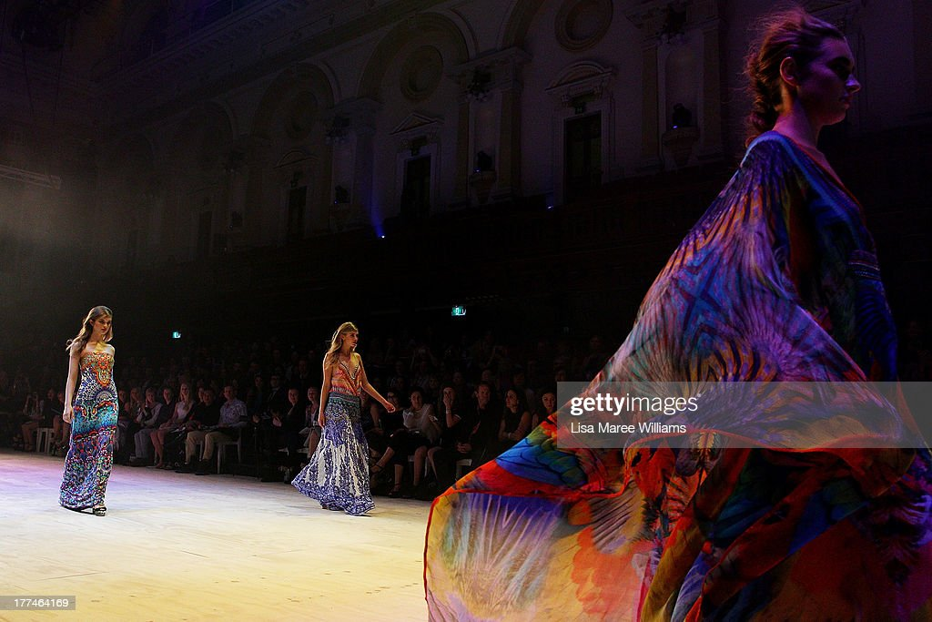 A model showcases designs by Camilla on the runway at the InStyle Red Carpet Runway show during Mercedes-Benz Fashion Festival Sydney 2013 at Sydney Town Hall on August 23, 2013 in Sydney, Australia.