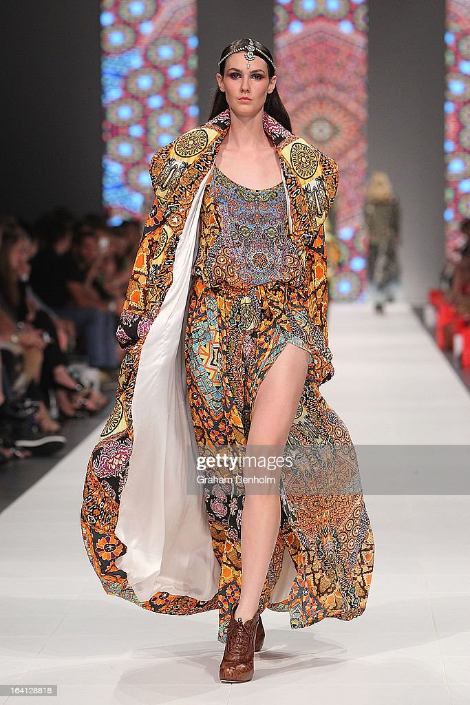A model showcases designs by Camilla on the runway at the L'Oreal Paris Runway 2 show during day three of L'Oreal Melbourne Fashion Festival on March 20, 2013 in Melbourne, Australia.