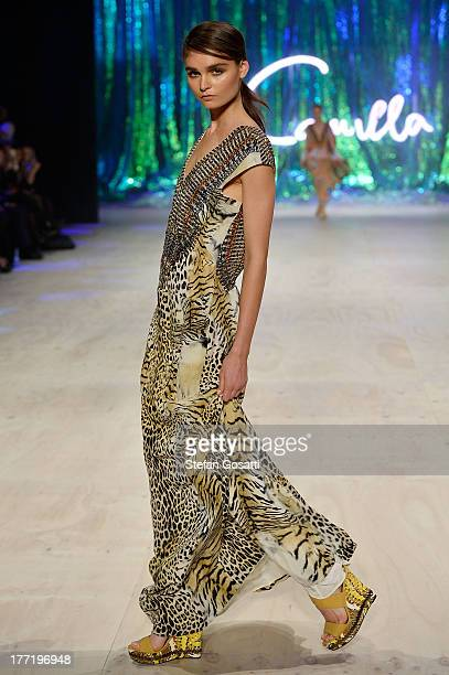 A model showcases designs by Camilla on the runway at the MBFWA Trends show during MercedesBenz Fashion Festival Sydney 2013 at Sydney Town Hall on...