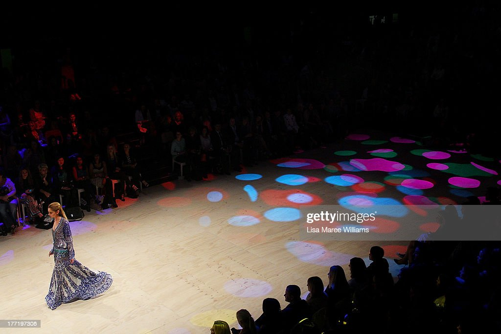 A model showcases designs by Camilla on the runway at the MBFWA Trends show during Mercedes-Benz Fashion Festival Sydney 2013 at Sydney Town Hall on August 22, 2013 in Sydney, Australia.