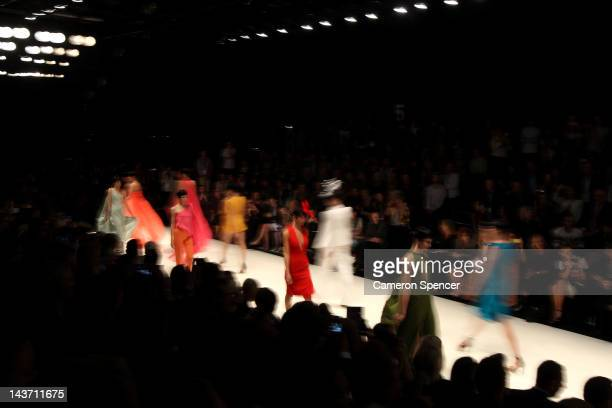 A model showcases designs by Carl Kapp on the catwalk on day four of MercedesBenz Fashion Week Australia Spring/Summer 2012/13 at the Overseas...