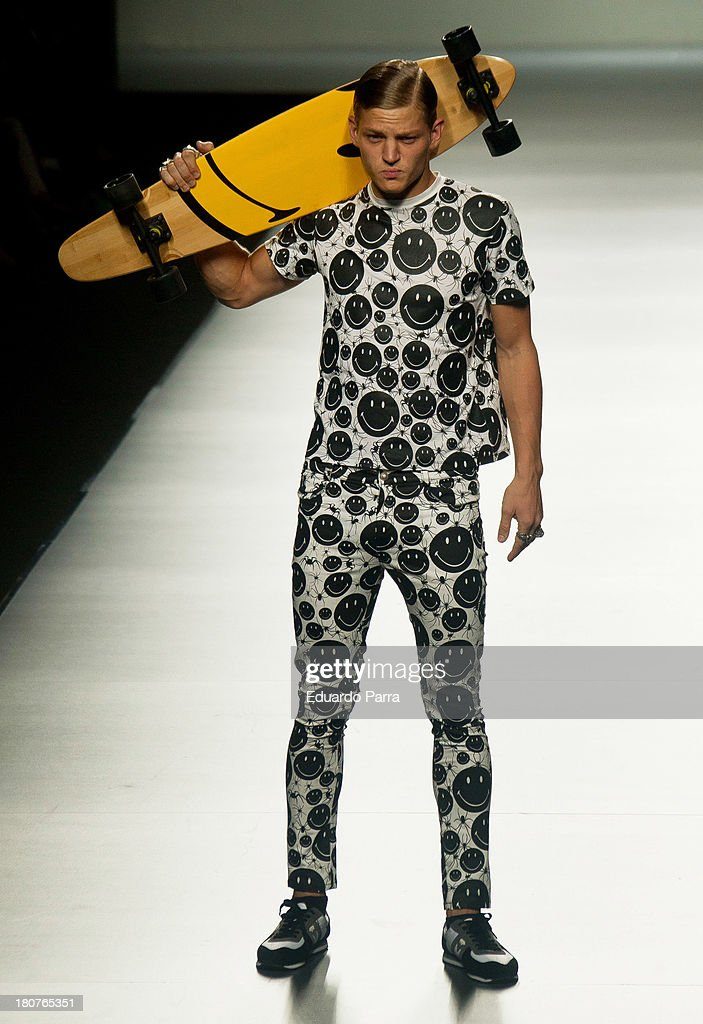A model showcases designs by Carlos Diez on the runway at Carlos Diez show during Mercedes Benz Fashion Week Madrid Spring/Summer 2014 at Ifema on September 16, 2013 in Madrid, Spain.