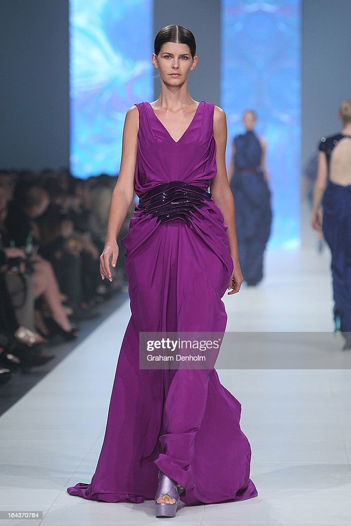 A model showcases designs by Cesar Chehade on the runway at the Sportsgirl National Graduate Showcase during day six of L'Oreal Melbourne Fashion Festival on March 23, 2013 in Melbourne, Australia.