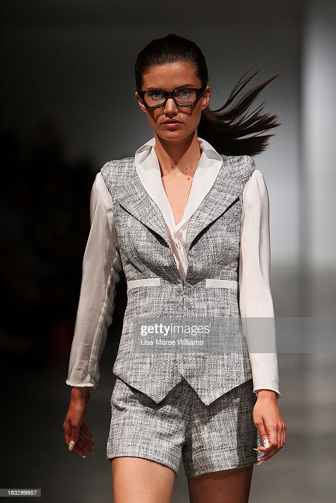 A model showcases designs by Chiquita Searle on the runway during Fashion Palette 2013 on March 7, 2013 in Sydney, Australia.