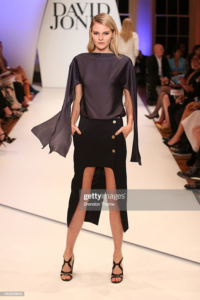 A model showcases designs by Christopher Esber at the David Jones Spring/Summer 2014 Collection Launch at David Jones Elizabeth Street Store on July 30, 2014 in Sydney, Australia.