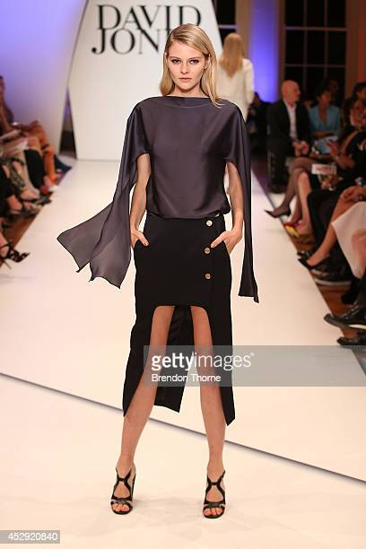 A model showcases designs by Christopher Esber at the David Jones Spring/Summer 2014 Collection Launch at David Jones Elizabeth Street Store on July...