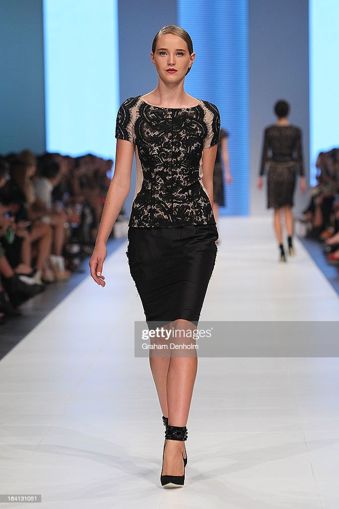 A model showcases designs by Colette Dinnigan on the runway at the L'Oreal Paris Runway 1 show during day three of L'Oreal Melbourne Fashion Festival on March 20, 2013 in Melbourne, Australia.