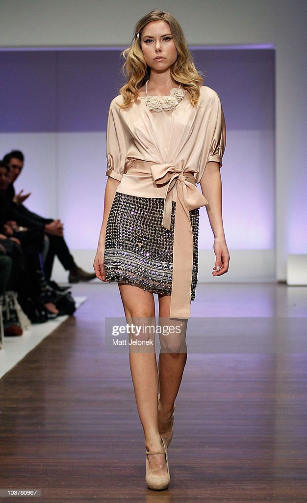 A model showcases designs by Collette Dinnigan during the Designer Series Show 2 catwalk show as part of Melbourne Spring Fashion Week at Town Hall...