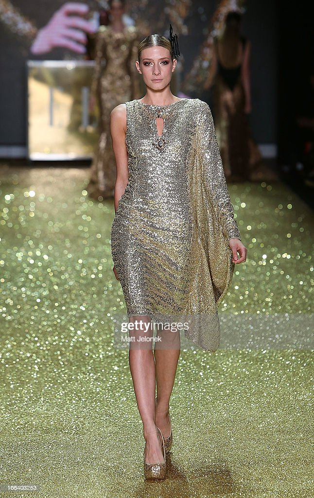 A model showcases designs by Constantina & Louise on the runway at the Hello Elle Australia show during Mercedes-Benz Fashion Week Australia Spring/Summer 2013/14 at Carriageworks on April 12, 2013 in Sydney, Australia.