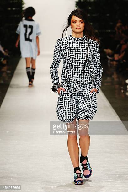 A model showcases designs by COOP at New Zealand Fashion Week 2014 on August 28 2014 in Auckland New Zealand