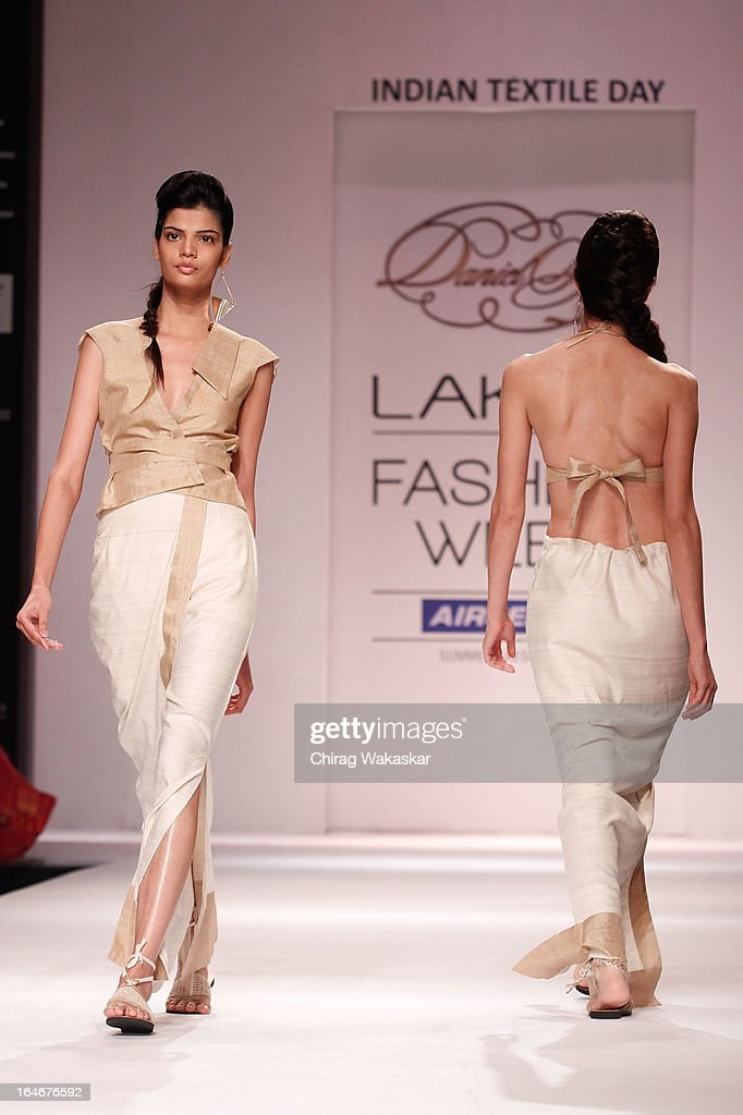 A model showcases designs by Daniel Syiem on the runway during day four of Lakme Fashion Week Summer/Resort 2013 on March 25, 2013 at Grand Hyatt in Mumbai, India.
