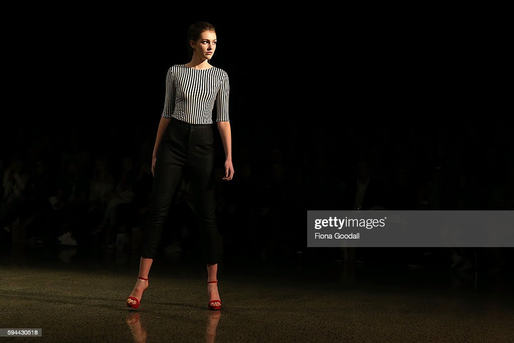 A model showcases designs by Danielle PowerSilk on the runway during 2016 New Zealand Fashion Week on August 24 2016 in Auckland New Zealand