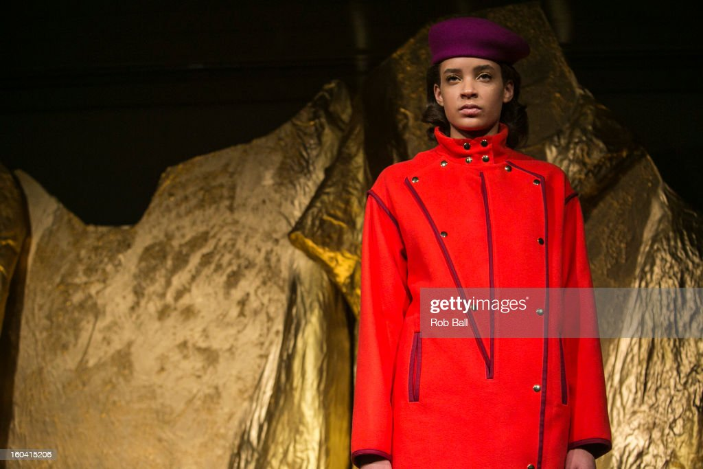 A model showcases designs by Danish designer Stine Goya during Day 2 of Copenhagen Fashion Week on January 31, 2013 in Copenhagen, Denmark.