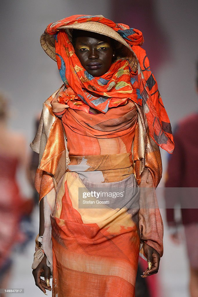 A model showcases designs by Dilettante presenting Vivienne Westward on the catwalk during StyleAID 2012 at the Burswood Entertainment Complex on July 27, 2012 in Perth, Australia.