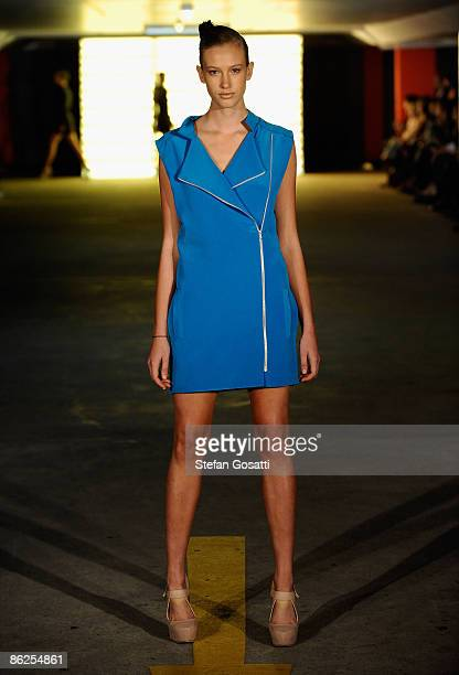 A model showcases designs by Dion Lee on the catwalk at the Kings Cross Car Park on day two of Rosemount Australian Fashion Week Spring/Summer...