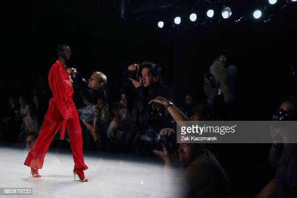 A model showcases designs by Dion Leed during MercedesBenz Fashion Week Weekend Edition at Carriageworks on May 20 2017 in Sydney Australia