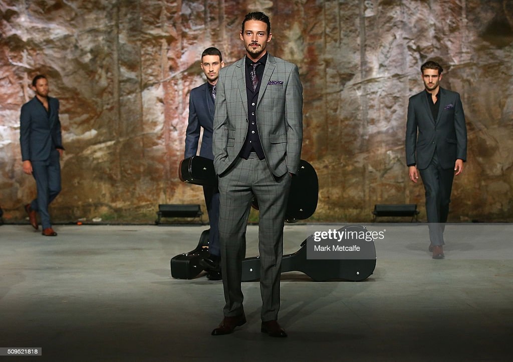 A model showcases designs by Dom Bagnato on the runway at the Myer AW16 Fashion Launch on February 11, 2016 in Sydney, Australia.