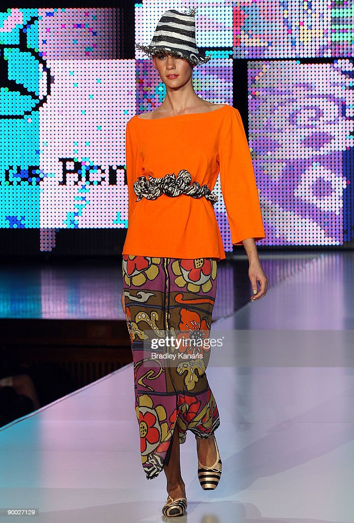 A model showcases designs by Easton Pearson on the catwalk at the Soul by Juniper Group show as part of the MercedesBenz Fashion Festival Brisbane...