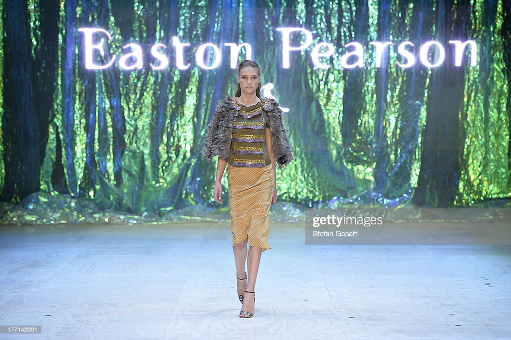 A model showcases designs by Easton Pearson on the runway at the MBFWA Trends show during MercedesBenz Fashion Festival Sydney 2013 at Sydney Town...