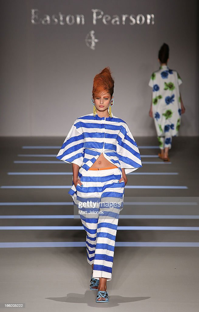 A model showcases designs by Easton Pearson on the runway at the MercedesBenz Presentes Easton Pearson show during MercedesBenz Fashion Week...