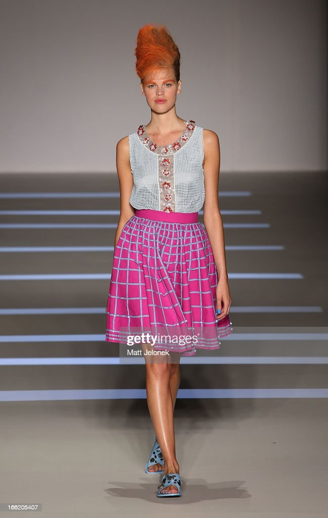 A model showcases designs by Easton Pearson on the runway at the MercedesBenz Presents Easton Pearson show during MercedesBenz Fashion Week Australia...